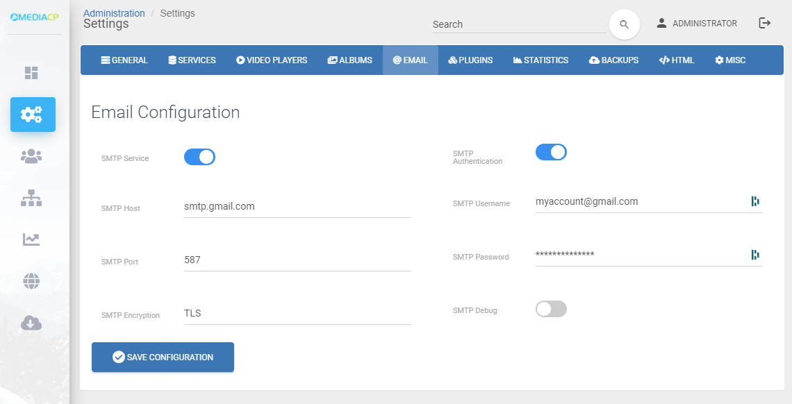 Gmail Email Configuration